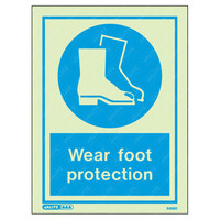 Fire Signs, Personal Protection Equipment Signs - Wear Foot Protection Wording & Symbol Photoluminescent PPE Sign