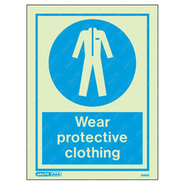 Wear Protective Clothing Wording & Symbol Photoluminescent PPE Sign