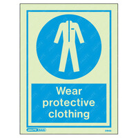 Fire Signs, Personal Protection Equipment Signs - Wear Protective Clothing Wording & Symbol Photoluminescent PPE Sign