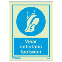 Fire Signs, Personal Protection Equipment Signs - Wear Antistatic Footwear Wording & Symbol Photoluminescent PPE Sign