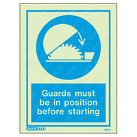 Fire Signs, Personal Protection Equipment Signs - Guards Must Be In Position Before Starting Wording & Symbol Photoluminescent PPE Sign