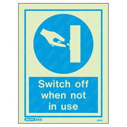 Switch Off When Not In Use Wording & Symbol Photoluminescent PPE Sign