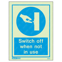 Fire Signs, Personal Protection Equipment Signs - Switch Off When Not In Use Wording & Symbol Photoluminescent PPE Sign