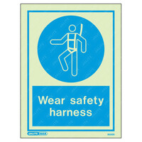 Fire Signs, Personal Protection Equipment Signs - Wear Safety Harness Wording & Symbol Photoluminescent PPE Sign