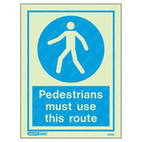 Fire Signs, Personal Protection Equipment Signs - Pedestrians Must Use This Route Wording & Symbol Photoluminescent PPE Sign