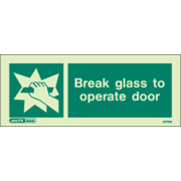 Break Glass to Access Signs (200X80MM) Rigid Plastic