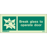Fire Signs, Fire Equipment Signs - Break Glass to Access Signs (200X80MM) Rigid Plastic