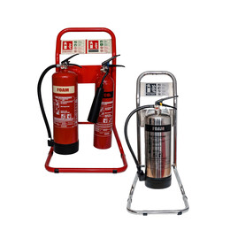 Single or Double Metal Extinguisher Stand in Red or Chrome