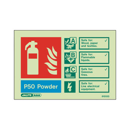 Photoluminescent P50 Power Extinguisher Sign