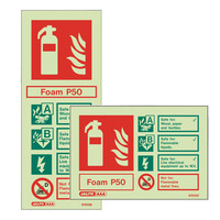 Fire Signs, Photoluminescent Extinguisher Signs - Photoluminescent P50 Foam Extinguisher Sign