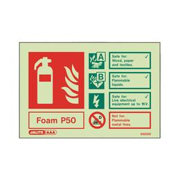Photoluminescent P50 Foam Extinguisher Sign
