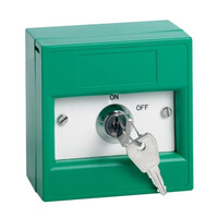 Security Equipment, Door Access Control, Standalone Door Access, Exit Switches & Call Points - STP KGG1SG-KS Green Key Switch Break Glass Unit