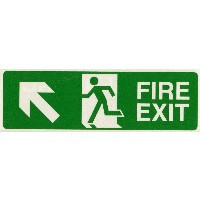 Fire Signs, Emergency Exit Signs - Fire Exit Arrow Up/Left Sign (400x150mm Rigid)