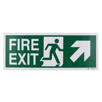Fire Signs, Emergency Exit Signs - Fire Exit Arrow Up/Right Sign (400x150mm Rigid)
